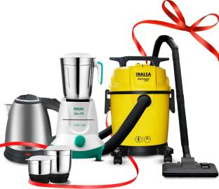 Inalsa Homeasy 10L Vacuum Cleaner + 550W Mixer Grinder Jazz Pro + 1.5L Electric Kettle Absa Wet & Dry ...