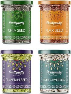 GreenFinity Raw Pumpkin - 100g, Sunflower - 100g, Flax - 125g, Chia Seeds - 125g | Immunity Combo | All Premium
