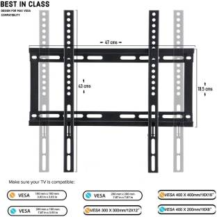 parth 32/40/42/43/49/50/55 Inches Ultra Slim LCD LED TVs Wall Mount Stand For MI, Realme, Oneplus, Sony, Samsung, Panasonic, LG, VU and All Brands LED,LCD,OLED,UHD,4K,Plasma,Smart TV's Suitable Fixed TV Mount