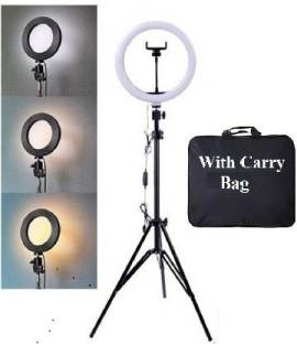Highstairs 10 inch Big LED Selfie Ring Light with 7 Feet Extendable Tripod Stand with 3 light mode(white, warm, yellow) Ring Flash