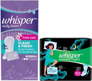 Whisper Nights 44s plus Panty liner 20s Sanitary Pad