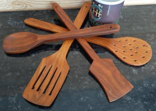 HomEnrich 1379 Cooking Spoons | Baking Spoons | Ladle | Spatula | Wood Ladle | Wood Spatula | Wood Spoons | Wooden Spatula | Wooden Ladle Brown Kitchen Tool Set