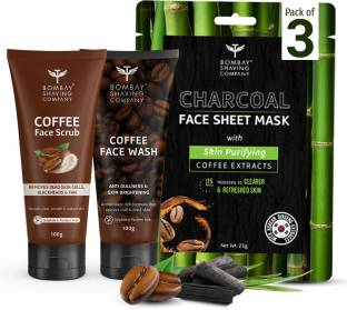 BOMBAY SHAVING COMPANY Caffeine De-Tan 3 Step Face Cleansing Combo with Coffee Scrub 100g, Coffee Face Wash 100g & Charcoal Sheet Mask (Pack of 3)