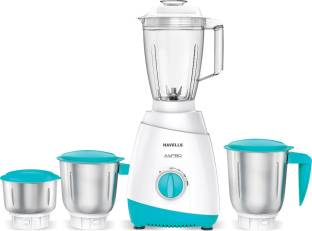 HAVELLS Aspro 500 W Mixer Grinder (4 Jars, White, Light Blue)