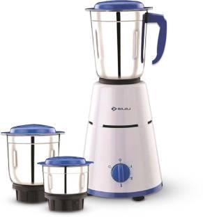 BAJAJ Pluto 3 Jar 500 W Mixer Grinder (3 Jars, White, Blue)