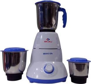 BAJAJ Dlx Bravo DLX. 500 W Mixer Grinder (3 Jars, White & Blue)