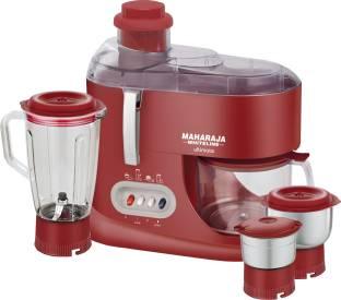 MAHARAJA WHITELINE JX-101 550 W Juicer Mixer Grinder (3 Jars, Red & Silver)
