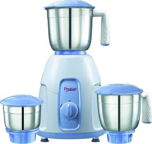 Prestige Stylo 550 W Mixer Grinder (3 Jars, White with indigo base)
