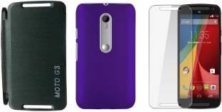quality design 55a23 cb427 iCopertina Motorola Moto G 3rd Gen Flip Case Purple & Back Cover & 2 ...
