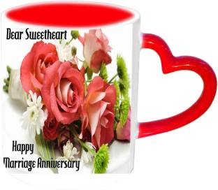 Raj Laxmi Happy Marriage Anniversary Pink Handle Ceramic Mug