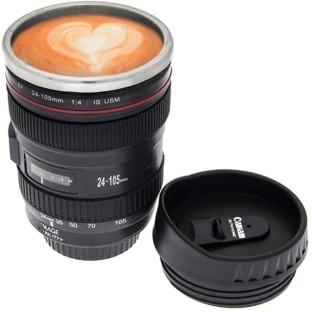 ace camera lens shaped with cookie lid coffee tea stainless steel mug
