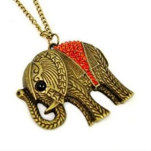 Vintage bronze enamel crystal elephant charm necklace