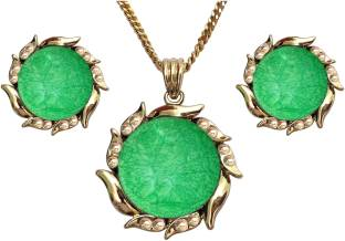 11f6e89c0 Shreya Collection Green Colour Floral Design Rhinestones Stud Pendant Set  with Stud Earrings & Golden Colour