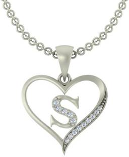 Kanak Jewels Initial Letter S In Heart Shaped Silver Cubic Zirconia Brass Pendant