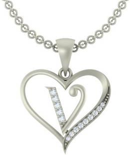 Kanak Jewels Initial Letter V In Heart Shaped Silver Cubic Zirconia Brass Pendant