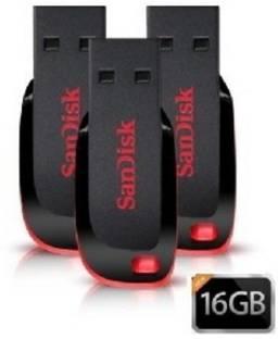 SanDisk Cruzer Blade USB Flash Drive (BLACK & RED) - 3pc 16 GB Pen Drive