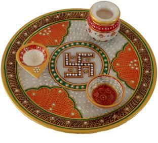 Shreeng silver plated set of 12 lotus flower diyas 12 pcs stainless divinecrafts makrana marble kundan studded multiutility marble pooja thali set mightylinksfo