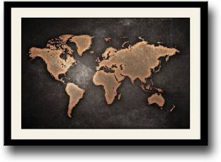 Canvaschamp vintage world map stretched on a wooden frame canvas world map in bronze colour fine art print gumiabroncs Images