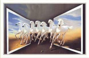 Bm Traders Beautiful 7 White Horses Rolled Poster Big Paper Print