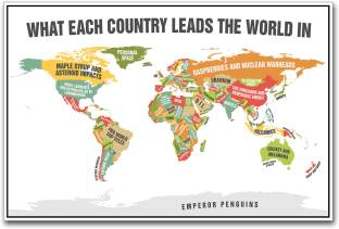 Affordable art india world map contemporary large framed fine world map leading countries paper print gumiabroncs Image collections