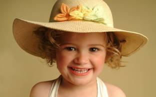 09a37c67c81 Cute Girl in Pink Hat Paper Print - Children posters in India - Buy ...
