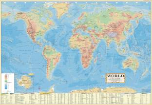 World political map wall chart paper print maps educational world physical english wall map paper print laminated28inch x 40 inch paper print gumiabroncs Image collections