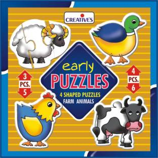 Creatives Early Puzzles - Farm Animals is a set of 4 self-correcting shaped puzzles with 3-6 pieces for ages 3 & above
