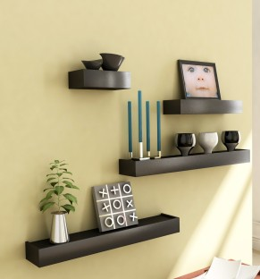 Home Sparkle Set Of 4 MDF Wall Shelf