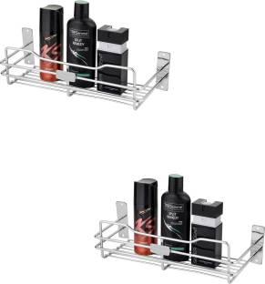Leaves Perfume Rack Pack Of 2 Pcs Stainless Steel Wall Shelf