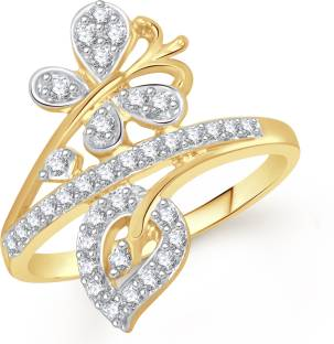 VK Jewels Butterfly with Leaf Alloy Diamond 18K Yellow Gold Ring