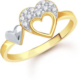 VK Jewels Double Heart Alloy Diamond 18K Yellow Gold Ring