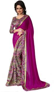 Oomph! Plain, Printed, Floral Print Bollywood Georgette, Cotton Sari