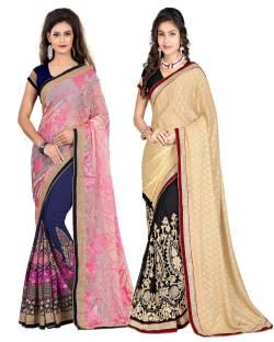 Aashvi Creation Embroidered, Self Design Fashion Georgette, Brasso Saree