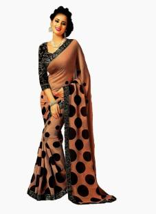 AJS Polka Print Fashion Chiffon Sari