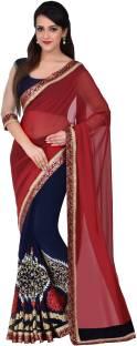 Hitansh Fashion Solid Fashion Georgette Sari