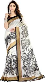 DESIGN WILLA Printed Fashion Silk Cotton Blend Sari