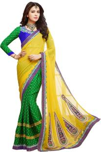 Kvsfab Self Design Fashion Georgette Sari