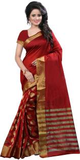 Zypara Striped Fashion Cotton Sari