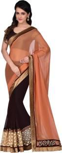 Hitansh Fashion Solid Fashion Georgette, Lycra Sari