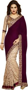 Googlee Solid, Paisley, Striped, Checkered, Embellished, Embroidered, Self Design Bollywood Velvet, Net, Dupion Silk Sari