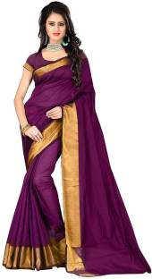 Anugrah Textile Plain Fashion Cotton, Silk Sari
