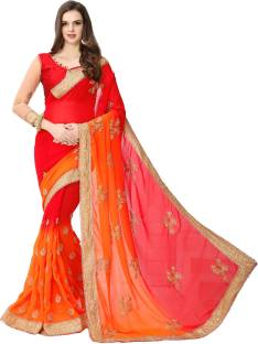 LEEWODEAL Embroidered Fashion Georgette Saree