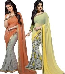 Bluebirdimpex Self Design Bollywood Georgette, Georgette Sari