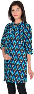 Vasudha Women's Printed Casual Light Blue, Black Shirt