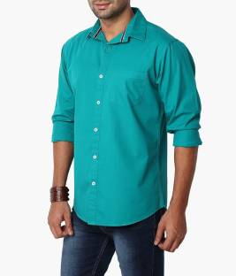 Suspense Men's Solid Casual Green Shirt