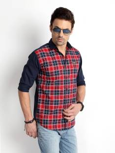 Rodid Men's Checkered Casual Red, Blue Shirt