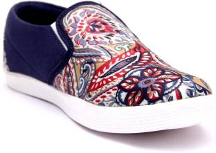 Loddx Fabric Printed Canvas Shoe Casuals For Men