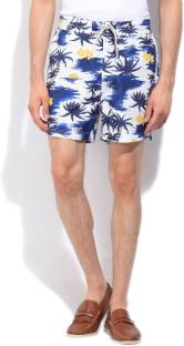 Nautica Printed Men's White, Blue Basic Shorts
