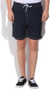 Nautica Solid Men's Dark Blue Basic Shorts