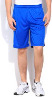 Being Human Solid Men's Blue Sports Shorts